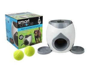 Fetch & Treat Dog Feeder Tennis Ball Game Training Interactive Pet Puppy Grey