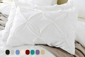 Pinch Pleat Set of 2pc Pillow Shams All Solid Colors & Sizes 1000TC 100% Cotton
