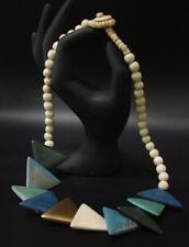 Schmuck Halskette Holzkette Holzplättchen 55cm Türkis #5