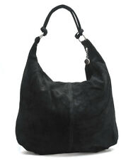 Made in Italy beautiful HOBO real suede leather  Hand Made black Shoulder bag