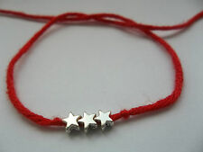 KARMASTRING red bamboo wool tie on bracelet anklet 3 silver colour stars metta