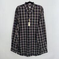 Peter Millar Mens Purple Plaid Button Up Shirt Long Sleeve Size XLT NWT