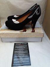 Ladies SERGIO TODZI Tacco a Spillo Nero e Diamante Dettaglio in Pelle Scamosciata Scarpe Misura UK 7