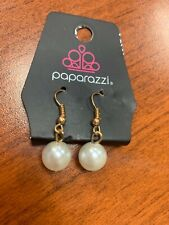 NeW Paparazzi dangle drop earrings❤️Pearl White bead hypoallergenic Gold hooks❤️