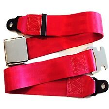 Classic Car Seat 2 Point Lap Seat Belt Front Rear Chrome Buckle Red Webbing