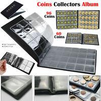 60-96 Coin Collection Album Coins Penny Money Storage Case Holder Folder Book UK