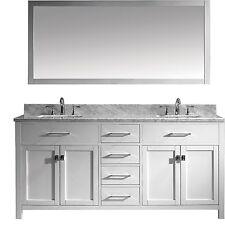 "Caroline 72"" Double Bathroom Cabinet Vanity WHITE/Square/Mirror/Marble/No Faucet"