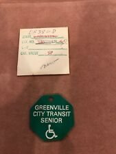 Greenville City Transit Senior Green Tag/token