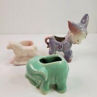 Lot of 3 Vintage Glazed Ceramic Small Donkey, Elephant & Horse Planter Figures
