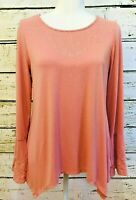 Adrianna Papell tunic top long sleeve shark bite hem embroidered Sz M coral