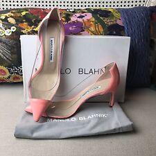 NEW Manolo Blahnik Peach Patent Leather Pacha Clear PVC Pump Shoe 7.5 37.5