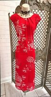 🌹 M & CO 🌹 RED FLORAL PRINT LONG STRETCH MAXI COCKTAIL DRESS 14 SUMMER CRUISE