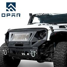 OPAR Front Steel Heavy Duty Bumper+ Grille & Winch Plate fit Jeep Wrangler 07-18