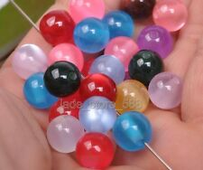 wholesale 100Pcs CAT EYE'S GEMSTONE RAINBOW ROUND LOOSE BEADS 10MM