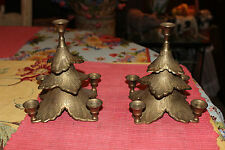 Lovely Pair Brass India Middle Eastern Candlestick Holders-Holds 5 Candles-Layer