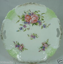 ANTIQUE PORCELAIN CAKE PLATE PINK ROSES,EMBOSSED,CUT OUT HANDLES GREEN