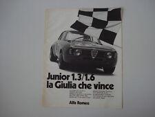 advertising Pubblicità 1973 ALFA ROMEO GIULIA GT GTA JUNIOR 1.3/1.6