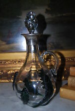 WONDERFUL CLEAR AND GREEN OVERLAY GLASS LEAVES SILVER LIPPED HANDLED DECANTER