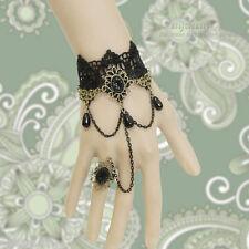 Black Lace Beads Drop Chain Flower Bronze Gothic Adjustable Ring & Bracelet SET
