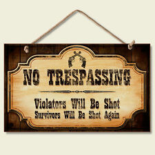Western Lodge Cabin Decor ~No Trespassing~  Wood Sign W/ Braided Rope Cord