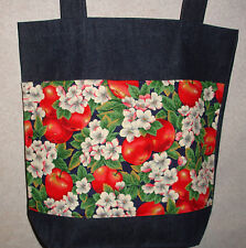 NEW Handmade Apples and Blossoms Large Denim Tote Bag Gift