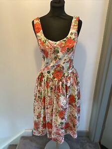 Laura Ashley Vintage Floral Print Dress UK Size 10 Read Description