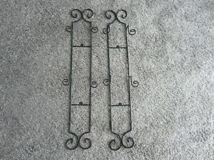 BLACK WROUGHT IRON PLATE HOLDERS WALL RACKS SET OF TWO FOUR PLATES
