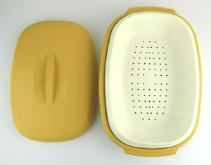 Vintage Tupperware Microwave Steamer 3 Piece Harvest Gold Yellow 1273 1274 1275