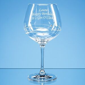 Personalised Engraved Large Diamante Crystal Spiral Gin Glass - Any Message Name