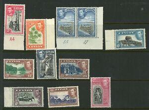Ceylon 1938 selection of 10 mainly UM/MNH