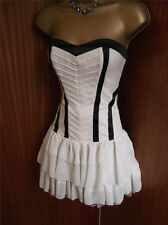 LIPSY LONDON CREAM BLACK MAID OUT FIT FLOATY BODICE RIBBED BANDEAU DRESS 10