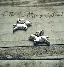Pig Charms Flying Pig Charms Pendants Antiqued Silver When Pigs Fly 10 pieces