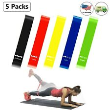 Resistance Loop Bands Set of 5 Multicolor Exercise Home Fitness Yoga Training