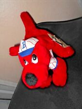 """NWT BESTOY PLUSH RED DOG WITH ATLANTA BRAVES HAT & JERSEY 8"""" LGTH CUTE"""