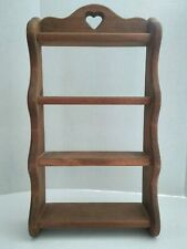 Vintage Wooden Wall Hanging 4 Shelf Display Knick Knack Collection Display