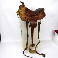 """Vintage 12"""" Authentic Leather Youth Childs Riding Equestrian Horse Pony Saddle"""