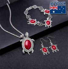 Retro Cut Red Turquoise Sea Turtle Pendant Necklace Earrings Bracelet Set