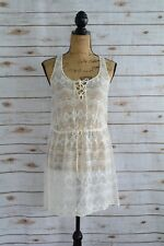 GREYLIN - Ivory SILK embroidered sleeveless TUNIC blouse LACE-UP, size S