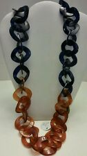 SALE!! Buffalo horn tortoise and navy long link chunky handcrafted necklace