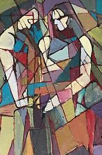 Vtg Abstract Cubist Figures Painting Retro Art Wall Hanging Mid Century Modern