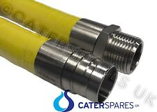 """YELLOW GAS HOSE FOR COMMERCIAL USE 1 METER LONG CATERING EQUIPMENT PIPE 1/2"""" 1M"""