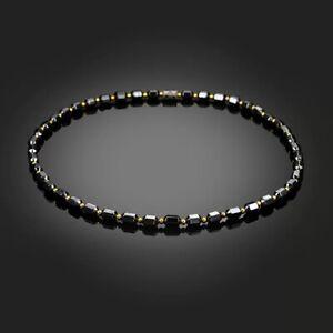 Men's Women's Black Hematite Magnetic Therapy Pain Relief Necklace Pendant