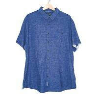 Sportscraft Regular Fit Mens Blue Short Sleeve Shirt Size XXXL Cotton Linen