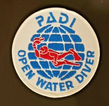 "Vintage 1980's PADI Open Water SCUBA Diver 4"" Round Sew-on Patch"