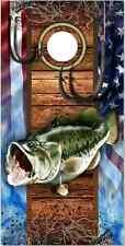 Bass Fish Hooks American Flag Cornhole Wrap Bag Toss Skin Decal Sticker Wraps