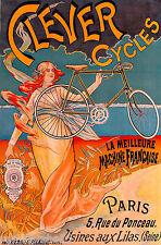 Clever Cycles Bicycle Paris France French Nouveau Advertisement Art Poster Print