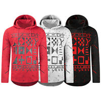 NEW Men Hip Hop Pullover Sweater Hooded Long Sleeve Crewneck Paint Splatter S-XL