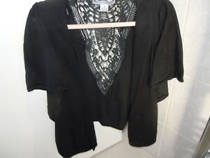 RXB Black Short Sleeved Cotton Cardigan Size M