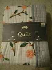 New Red Rover peach blossom & gray striped multi-layer cotton muslin baby quilt