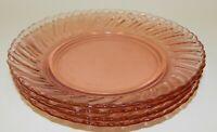 "4 Vintage Fortecrisa Pink Swirl Depression Style Glass 6-3/4"" Bread Salad Plates"